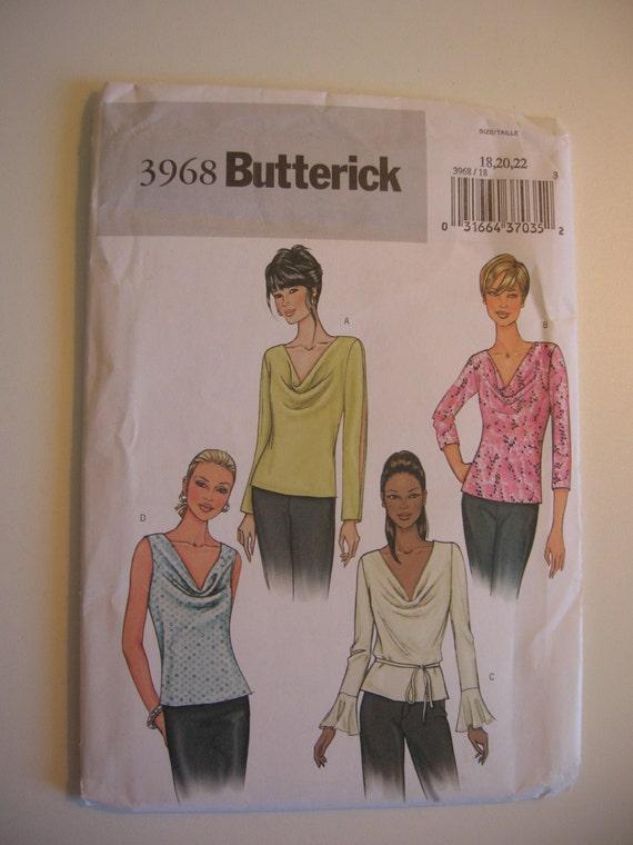 OOP Butterick 3968 - Misses' Petite Top - New Uncut - Size 18, 20, 22
