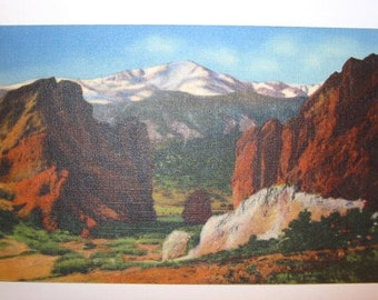 Vintage Pikes Peak Linen Finish Postcard Un Used
