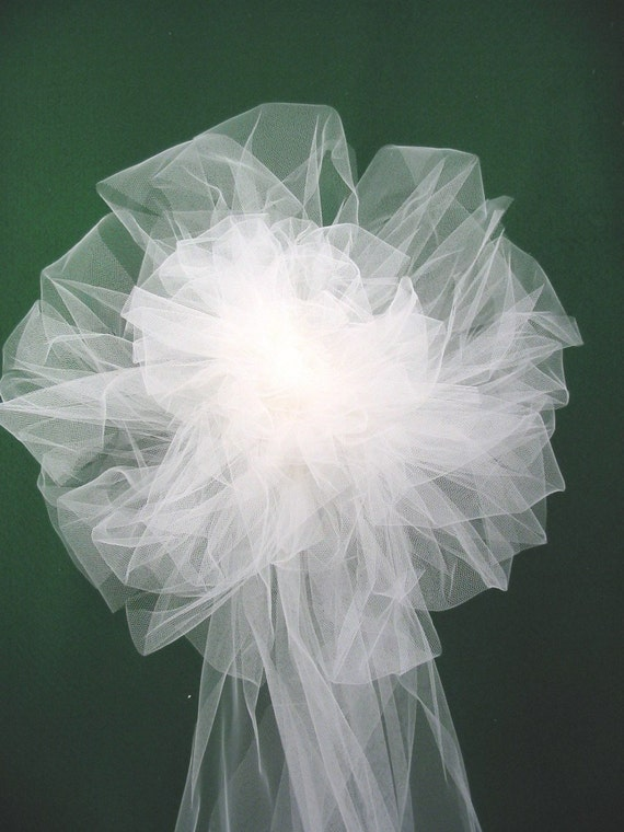 Reserved for Aurelia  2 White or Ivory  Tulle Wedding  Pew Bows with Pew Clips