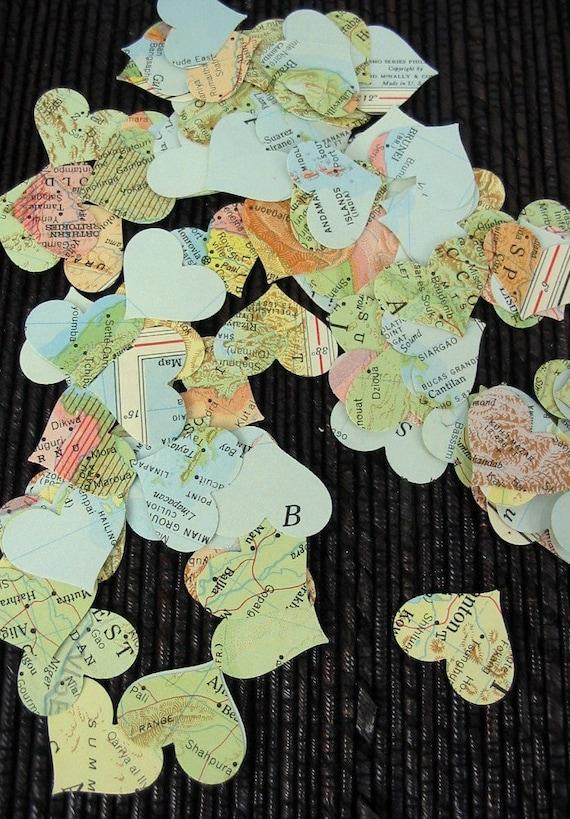 100 Vintage Atlas Map Tiny Hearts Confetti Wedding Cards Collage