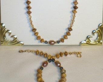 Tan Necklace, Office Jewelry, Swarovski Crystal Necklace Set
