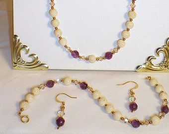 Elegant Jewelry Set, Faceted Amethyst, Cream Fossil Stone