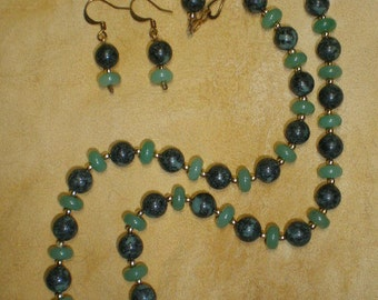 Business Jewelry, Rainforest Jade, Aventurine Necklace and Earring Set