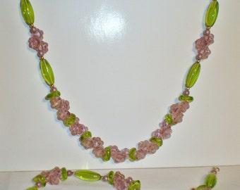 Light Purple Flower Cluster Necklace Set