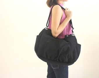 SALE 30% - Black messenger bag, Vegan diaper bag, Cross body bag, women canvas shoulder bag , Gift for her /  no.13 ANNA