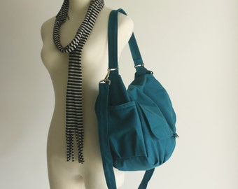 Sale Sale Sale 30% - Teal zipper messenger bag , canvas shoulder handbag ,Women laptop bag , gift mom diaper bag /DANIEL