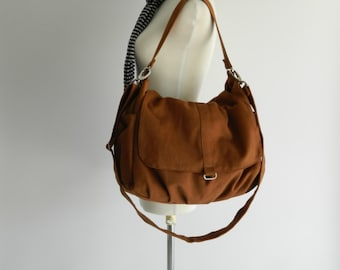 Canvas Messenger zipper bag,Cognac brown women shoulder bag,Mom cross body diaper bag,Christmas gift for her - Sale Sale Sale 30%/DANIEL