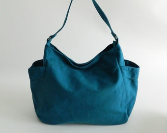 Sale 25 %-Teal canvas cross body bag,Vegan mom diaper bag,Hobo Shoulder bag,Handbag Gift for her,women School Bag /no.101 RENEE