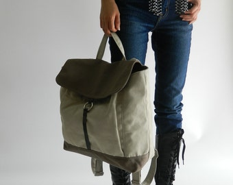 New Year Sale 30%- Tanya in Two Tone Backpack Rucksack , leather backpack , Satchel , Laptop bag, Women , unisex School bag