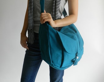 Canvas Messenger bag ,Shoulder bag,Tote bag,Diaper bag,Purse,Handbag,For her,School Bag,School Bag, Teal- Kylie- Sale Sale Sale 30%