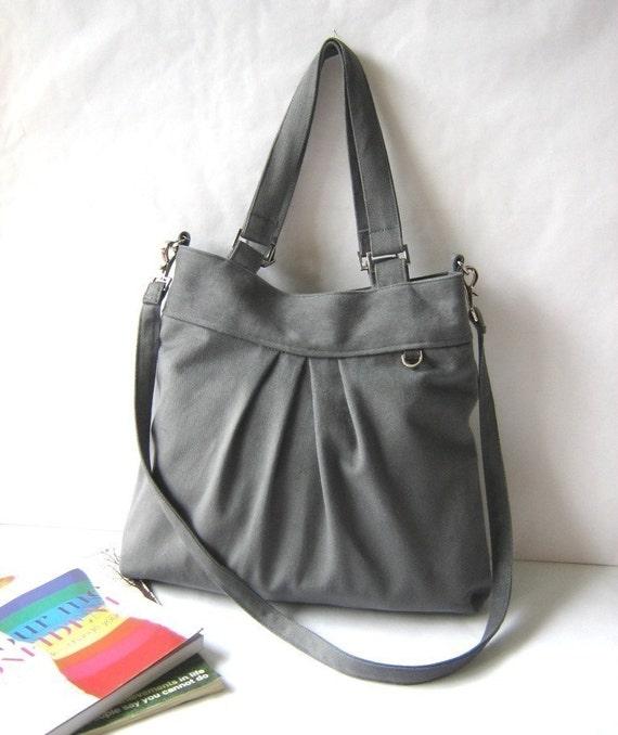 CHRISTMAS SALE - 15% OFF -The chotto tote in grey // tote / messenger bag / diaper bag / shoulder bag / women