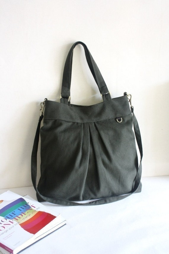 SALE  -  The chotto tote /messenger in dark olive