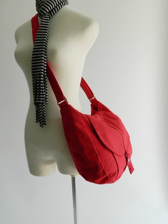 Christmas in July SALE 25% -Kylie in Red Messenger bag  Diaper bag /Shoulder bag / Tote bag / Purse / Handbag / Women / For her / School Bag