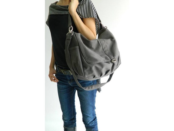 Gray diaper crossbody bag, School messenger bag, Mom shoulder bag, Christmas gift for her, Women travel handbag - Sale Sale Sale 30%/DANIEL