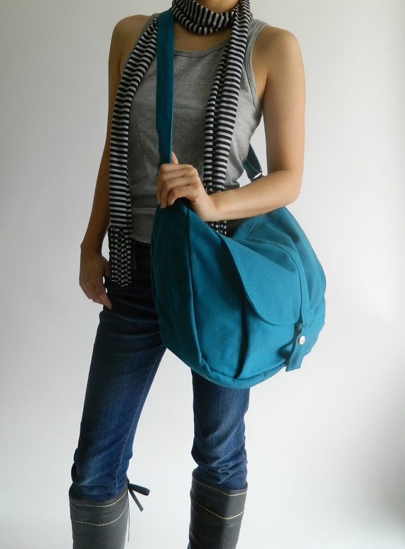 Sale Sale Sale 30% -Canvas Messenger bag ,Shoulder bag,Tote bag,Diaper bag,Purse,Handbag,For her,School Bag,School Bag, Teal- Kylie