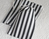 Black Ticking Stripe, Drawstring Bag, Pouches, set of 3, 4.5 x 6.5 inches