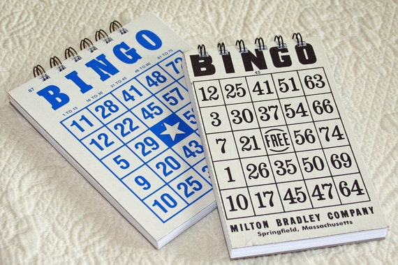 2 Vintage Bingo Game Recycled Notebooks, Journal, Jotter, Sketch book, Blue & Black