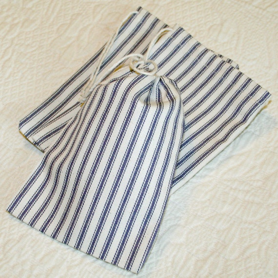 Navy Blue Ticking Stripe Drawstring Bags, Pouches, set of 3, 4.5 x 6.5 inches