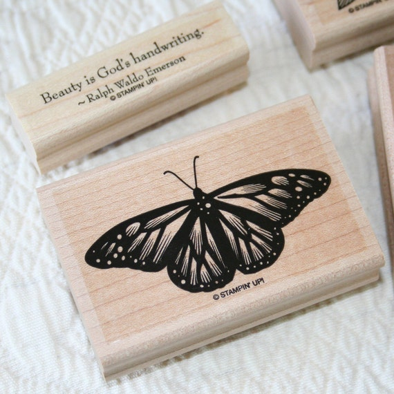 Stampin Up, God's Beauty, Monarch Butterfly, Flower, wood mounted rubber stamp set