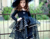 Girls Gorgeous Hand  Made Diva Witch-  Dress and Hat -Costume Halloween