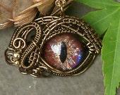 Gothic Steampunk Itty Bitty Evil Eye Bronze Wire with Handpainted Glass Eye