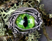 SOLD Gothic Steampunk Green Evil Eye Ring Sterling Silver