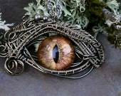 Gothic Steampunk Sable Evil Eye Pendant Autumn Gold