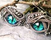 SOLD Gothic Steampunk Evil Eye Sterling Silver Ring 5 and Earring Set