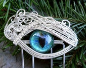 SOLD RESERVED Steampunk Silver Evil Eye Hair Fork Haarforke with Blue Eye