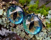 Gothic Steampunk Sterling Silver Evil Eye Earrings in Blue Green and Gold