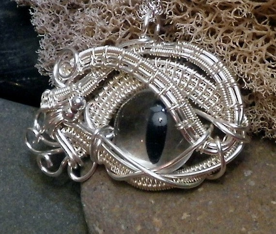 Gothic Steampunk Itty Bitty Evil Eye in Clear Creepyness