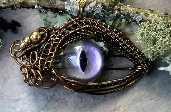 Gothic Steampunk Bronze Evil Eye Pendant Color Shift Lavender