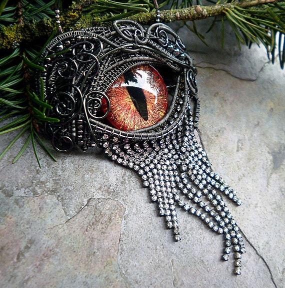 Gothic Steampunk Mink Evil Eye Pin Pendant with Autumn Splendor Eye