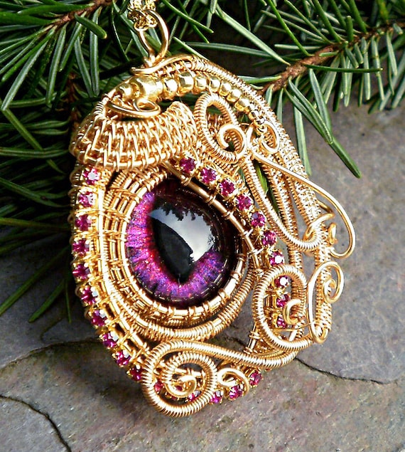 Gothic Steampunk Gold Evil Eye Pendant Grande Baby and Rhinestones