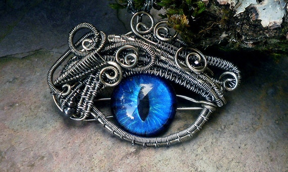 Gothic Steampunk Mink Evil Eye Pendant with Bright Blue Eye Itty Bitty
