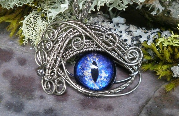 Gothic Steampunk Silver Fox Evil Eye Pendant Royal Blue