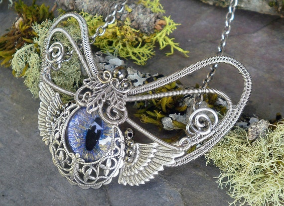 SOLD Gothic Botanical Steampunk Evil Eye Pendant in Blue Silver