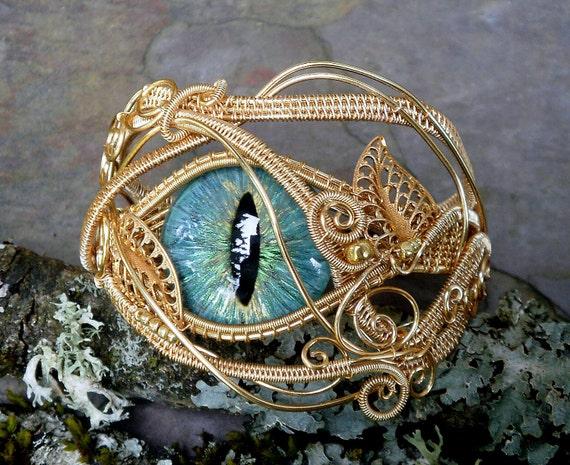 Gothic Botanical Steampunk Bracelet in Gold Evil Eye Sage Blue