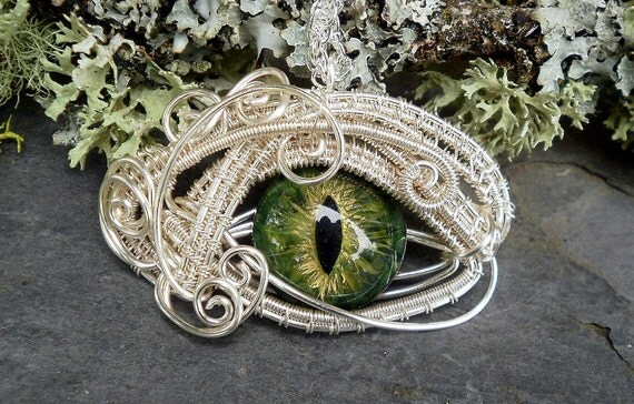 Gothic Steampunk Silver Evil Eye Pendant in Gold and Green