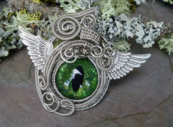Gothic Steampunk Winged Sable Evil Eye in Green
