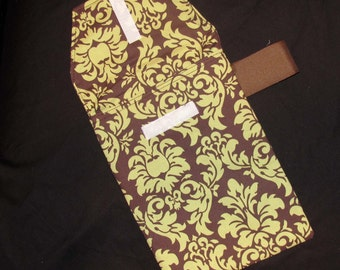 Sale!! 60% off -READY 2 SHIP-Pistachio Damask Diaper Clutch with a Pocket