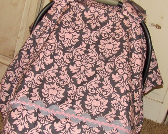Car Seat Canopy- Blossom Dandy Damask Carseat Canopy