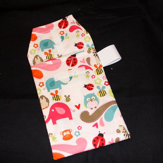 Sale 30% off Diaper Clutch - Pink Animal Cracker Soup Diaper Clutch with a Pocket-Ready to Ship-Ribbon Color May Vary