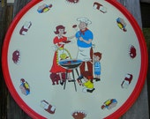 Vintage Metal Tray with Family BBQ