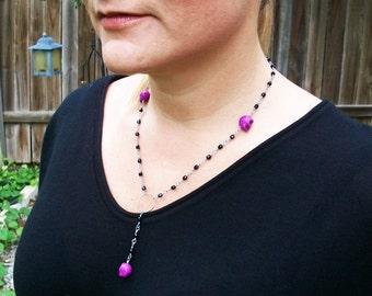 Rosalinda purple stone skull rosary style necklace