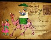 VINTAGE POST CARD ART - KING ENJOYING CAMEL RIDE