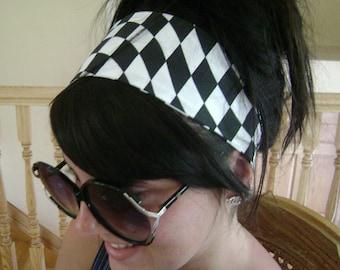 Black and White Checkered Nascar Print Headband, Hair Band, Hair Scarf - Elastic or Velcro Back
