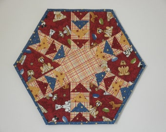 Quilted Flying Geese Table Topper - Puppy Dogs (UNTT26)