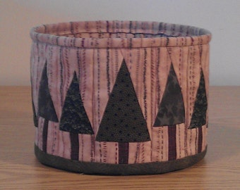 Quilted Fabric Bowl - Pine Trees (UNbowlL)