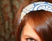 Blue White Floral NO SLIP HEADBAND Trendy Fabric Headbands
